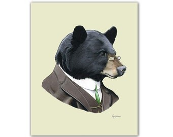 Black Bear Gentleman Woodland Art print for Kids Nursery or Fun Living Room by Ryan Berkley 8x10