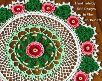 Roses and Shamrocks Doily: Fiber Art Irish Crochet - 3D Red and Pink Roses and Green Shamrocks - Colorful Art Crochet - Red and Green Decor