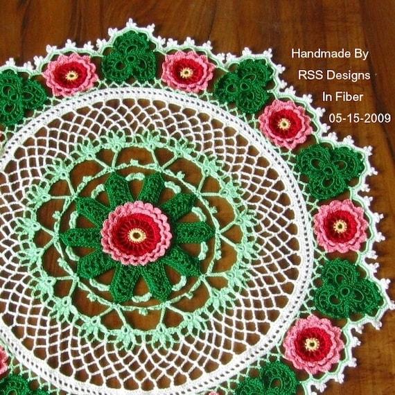 Roses and Shamrocks Doily: Fiber Art Irish Crochet - 3D Red and Pink Roses and Green Shamrocks - Colorful Art Crochet - Red and Green Decor