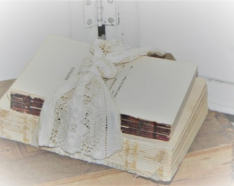 Old Rustic Book Bundle Embellished w/ Antique Ecru Petticoat Lace~Shabby~ Photo Prop ~Wedding Decor