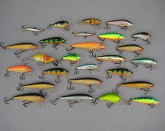 26 Vintage Fishing Lures Rapala Ireland Finland Rebel Heddon Rocky Fishing Tackle Lot Instant Collection School of Fish