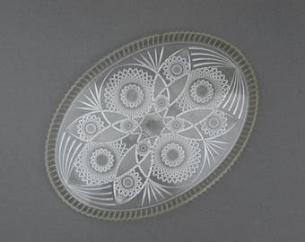 1950s Clear Plastic Vanity Tray Lucite Starburst Oval Dresser Tray Looks Like Brilliant Cut Glass