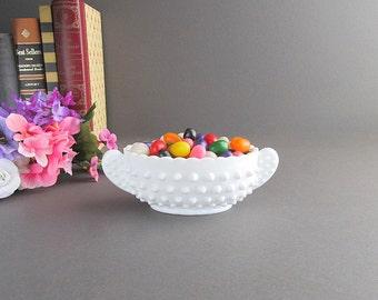 Vintage Milk Glass Hobnail Dish With Handles, Candy Dish, Trinket Dish, Wedding Candy Bar Buffet Dish, Milk Glass Hobnail