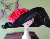 Curvy Scallop Brim Sheer Braid Kokin Sun Shade Hat Black Satin Red Silk Flower