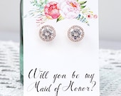 Maid of Honor Earrings / Round Rose Gold Earrings / Will you be my Maid of Honor / Maid of Honour / Rose Gold Stud Earrings / MOH proposal