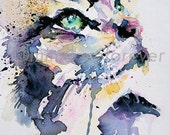 Cat Art Print, Feline Wall Art, Gazing Cat Watercolour Print. Cat Portrait, A4