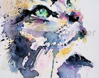 Cat Art Print, Feline Wall Art, Gazing Cat Watercolour Print. Cat Portrait, A4