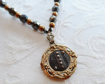 Lancashire, Elegant Simplicity, Necklace made with Antique Steel Cut Button and Mother of Pearl Button, Metallic Czech Glass Beads