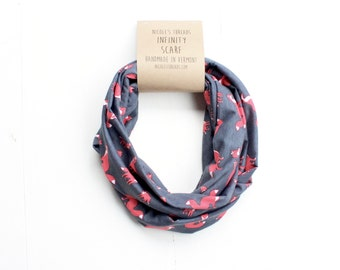 READY TO SHIP Infinity Scarf - Cotton Jersey - Gray With Red Fox Pattern - Knit Fabric - Stretchy - Scarf - Fox