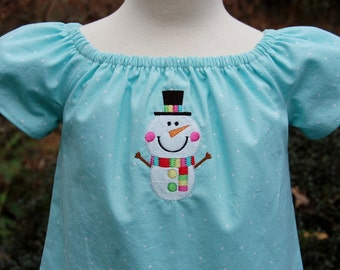 Girls Dress, Girls Winter Dress, Girls Peasant  Dress, Girls Snowman Dress,  Baby Girl Dress, Snow Dress, Girls clothing
