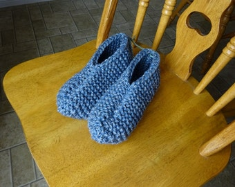 Grey Marl Knitted chunky slippers, Mens size large, Shoe size 9/10, Sole 11 inches