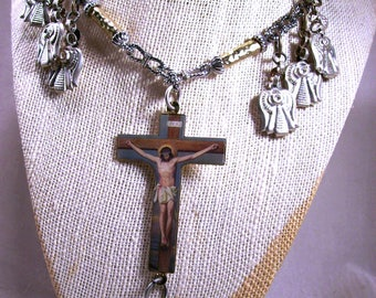Seven 7 Spanish Angels Wearable Art Crucifix Necklace Altered Mixed Media Jewelrey Rare OOAK Statement Boho Faith Couture