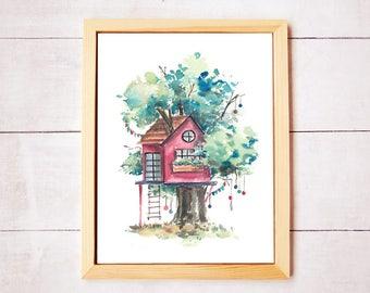 Treehouse Series 14 Watercolor Art Print - Digital Download
