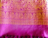 Vintage Purple and Gold SARI Indian Fabric