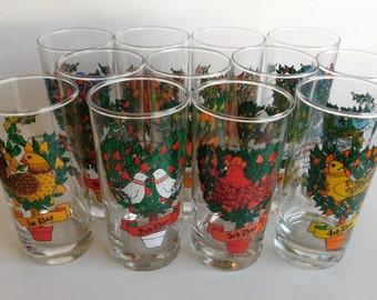 12 Days of Christmas Glass Set Holiday Tumblers
