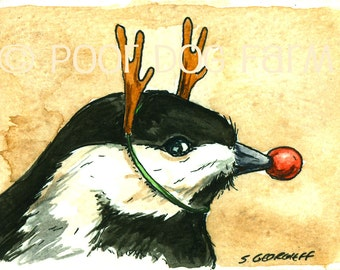 Rudolph the red nosed.....Chickadee?  - Original ACEO Painting