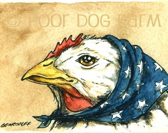 Irma Hen.. an Independent type of Hen      - Original ACEO Painting