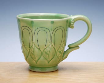 Deco mug in Spring Green gloss w. Leaves, Blue Polka dots & detail, Victorian mod handmade cup