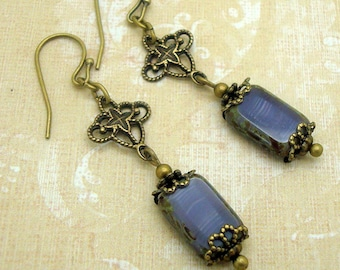 Vintage Inspired Earrings with Purple Rectangle Beads and Filigree Charm
