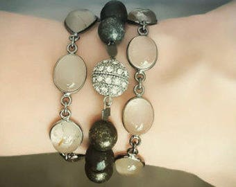 Rutilated Quartz Bracelet, Wrap Around Toggle Clasp Bracelet, Convertible Bracelet Necklace, Bezel Set, Clear Stone, Oxidized Silver