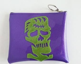 Purple make up bag metalflake sparkle vinyl with lime frankenstein