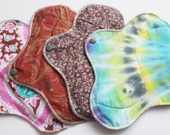 Mama Cloth Menstrual Pad / Cloth Pad ...  Set of 4 - 10 inch Variety of Cotton Prints  FREE SHIPPING