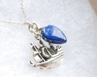 Pirate Ship Necklace, Nautical Jewelry, Sailor Necklace, Lapis Lazuli Necklace, Pirate Necklace, Pirate Jewelry, High Seas, Ahoy Matey