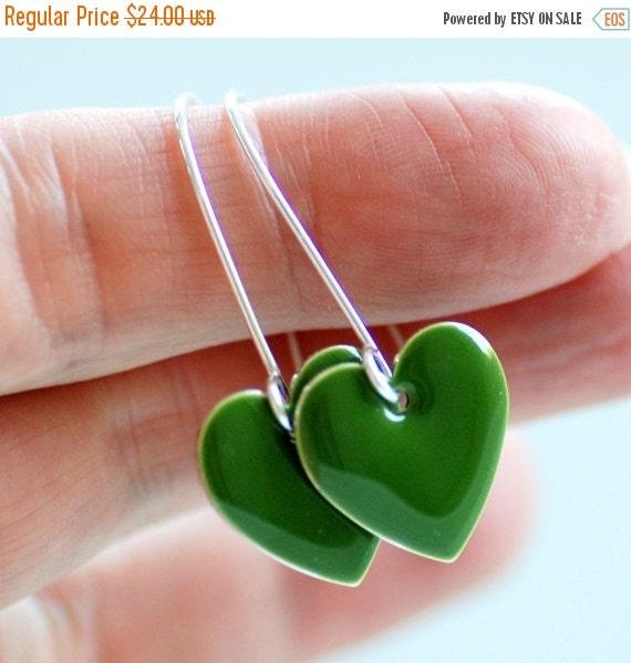 Heart Earrings, Olive Green Earrings, Epoxy Enameled Earrings, Loden Green, Dangle Earrings, Earthy Earrings, Woodland, Sterling Silver