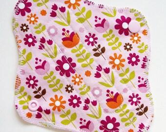 "7"" 18cm Cotton Panty Liner, Flower Floral Pink Orange Green, Cloth Menstrual Pad Cloth Panty Liner Cup Backup Cloth San Pro Incontinence Pad"