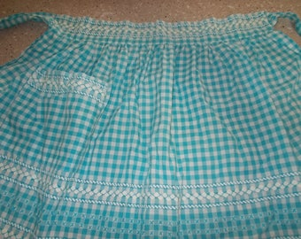 Vintage Turquoise gingham apron Ric Rac cross stitch Hand made Farmhouse country apron
