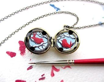 Snowy Love Birds Locket, Hand-painted in Oil Enamel, Tiny Art Winter Necklace