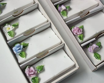 Vintage white floral porcelain name place holders - tableware set of 8
