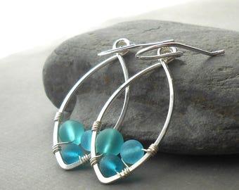 Faux Sea Glass Sterling Silver Dangle Earrings, Beach Jewelry, Blue Beaded Wire Wrapped Hoops