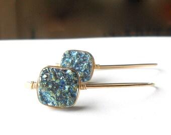 Blue Druzy Earrings, Gold Drop Earrings, Gold Filled Wire Earrings With Agate Druzy Beads