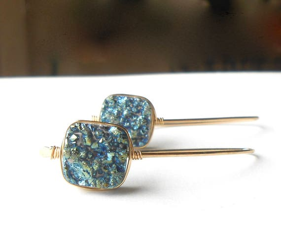 Blue Druzy Earrings, Gold Drop Earrings, Gold Filled Wire Earrings With Agate Druzy Beads