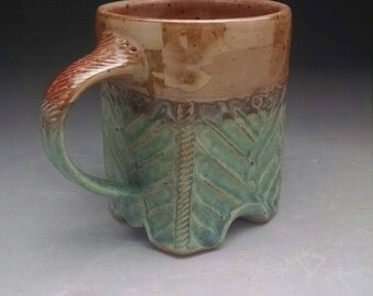 Carved Square Footed Stoneware Coffee Mug