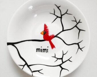 Sympathy Gift, Remembrance Gift, Ring Dish, Jewelry Dish - Personalized Dish, Cardinals, Jewelry Dish, FREE SHIPPING