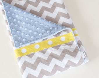 Baby Blanket, Simple Patchwork Blanket, Grey and White Chevron with Blue Minky (2)