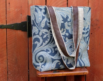 Boutique Tote Shoulder Bag - Fabric Purse - Super Shoulder Bag - Fall - Indigo Blue