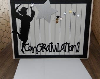 Graduation Greeting  Card Congratulations Graduate Silver Star Spray Black and Silver