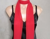 Red Extra Long Slim Skinny Scarf (71 inches long / 6 inches wide)