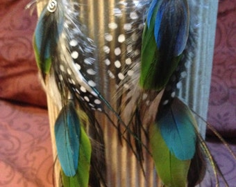 SEA BREEZES,long chain with natural feather earrings, cruelty free feathers collected from happy pets