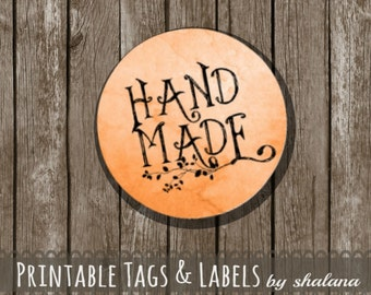 "Printable PDF 1.5 inch Circle Labels - Whimsical ""Hand Made"" Text on RUST Orange Watercolor Background - Great for Craft Shows and Gifts"