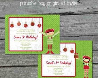 Elf Birthday Invitation - Digital invite - boy or girl - Christmas Birthday - Xmas Birthday - ornament present - Printable 5x7 Invite