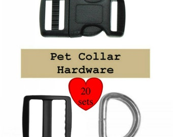 "20 SETS - 1"" - Dog Collar Kits, Wide mouth, 60 Pieces - BLACK or WHITE"