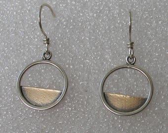 16mm Mixed Metal Sterling Goldfill Horizon Hoop Earrings