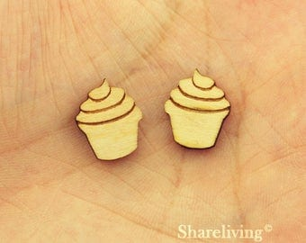 6pcs Wooden cup cake Charm, Wood ice cream Pendant, DIY Laser Cut Mini Charm, Perfect for Earring  - HWD509H