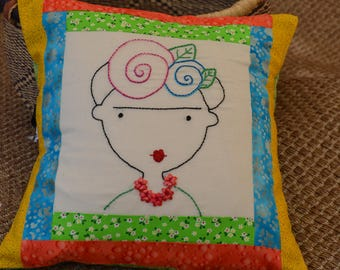 Patchwork Embroidery Young Colorful Sassy Frida Khalo Style Decorative Pillow Cover