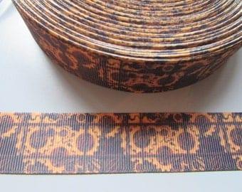 Steampunk Cog and Watch Parts Brown 2.5cm Grosgrain Ribbon x 1 metre