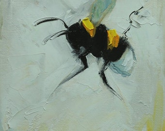 Bee painting 389 6x6 inch insect animal portrait original oil painting by Roz